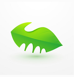Handshake between human hand and tree logo icon vector