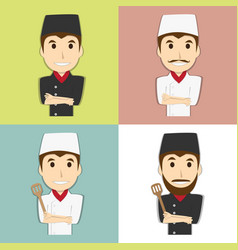 Happy chef master with mustache and beard vector