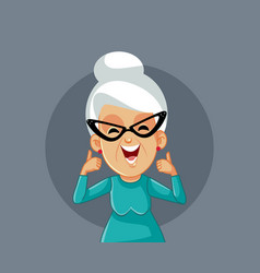 happy smiling elderly woman holding thumbs up vector image
