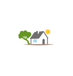 home beside tree and sun up house logo vector image