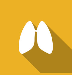 Icon lungs with a long shadow vector