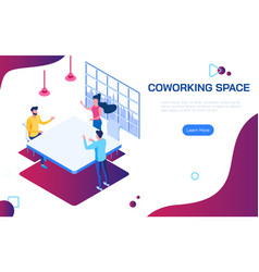 isometric coworking space people discussing ideas vector image