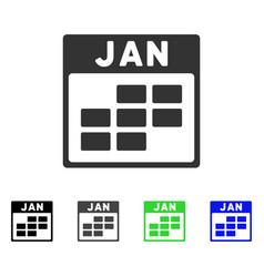 January calendar grid flat icon vector