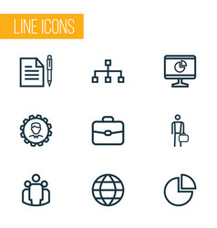 job icons line style set with work man hierarchy vector image