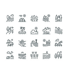 landscape line icons nature park mountain hill vector image