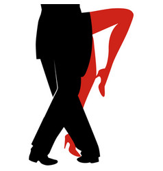 legs of woman and man dancing tango on white vector image