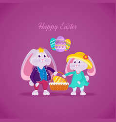lovely beautiful rabbits holding basket with egg vector image