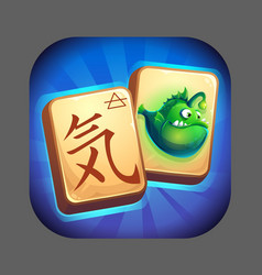 Mahjong fish world - icon for game user interface vector