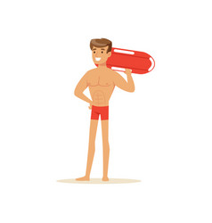 Male lifeguard in red shorts standing with life vector