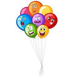 many balloons with facial emotions vector image
