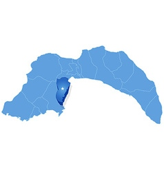 Map of Antalya - Kemer is pulled out vector image