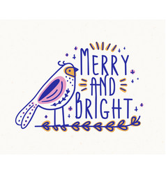 merry and bright festive lettering handwritten vector image