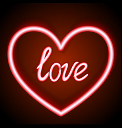 neon sign the word love with heart on dark vector image