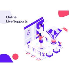 Online live support isometric modern flat design vector