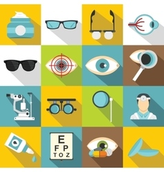 Ophthalmologist tools icons set flat style vector