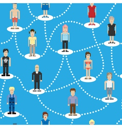 Pixel people social connection seamless pattern vector image