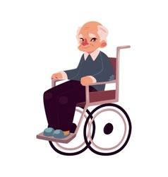 Portrait of happy old man sitting in wheelchair vector