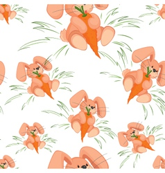 Rabbit with carrot seamless pattern vector