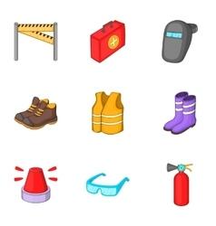 Road repair equipment icons set cartoon style vector