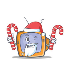 santa tv character cartoon object with candy vector image