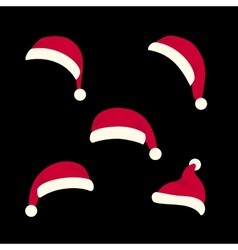 santas hats set vector image