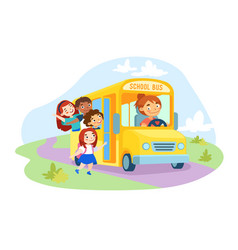 schoolkids characters enter yellow school bus vector image