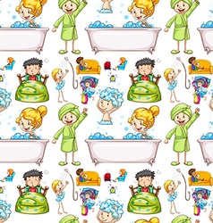 Seamless background with kids and routine vector image vector image