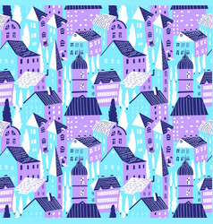 seamless pattern with houses cute city vector image