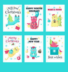 set christmas cards with cute cats vector image