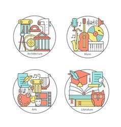 Set logos literature music art vector