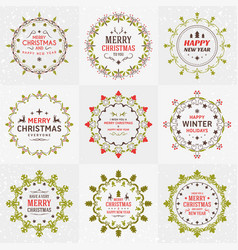 set of merry christmas and happy new year vector image