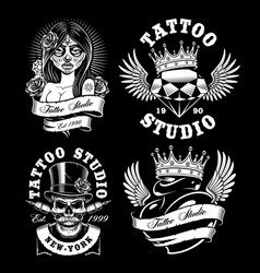 Set of tattoo design on dark background vector
