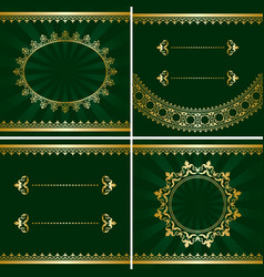 set of vintage golden frames on green backgrounds vector image
