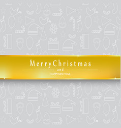 silver background merry christmas and happy new vector image
