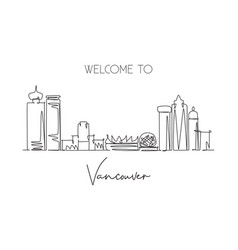 single continuous line drawing city vancouver vector image