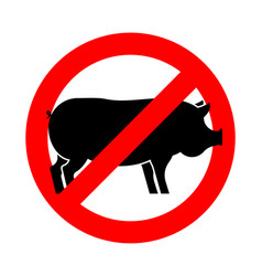Stop pig red road sign prohibiting ban piggy vector