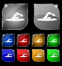 Swimmer icon sign Set of ten colorful buttons with vector