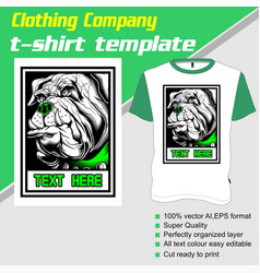 T-shirt template fully editable with dog vector