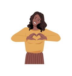 Teenager girl showing heart sign with hand gesture vector