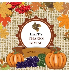 Thanks Giving card with leaves vector