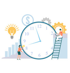 Time management people with clock timer icon vector