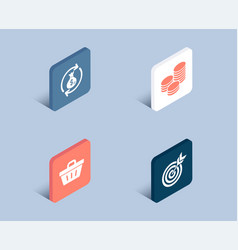 tips shopping basket and money exchange icons vector image
