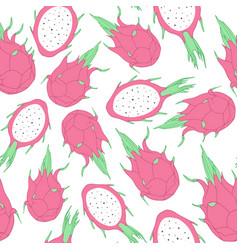 tropical seamless pattern with dragon fruit vector image
