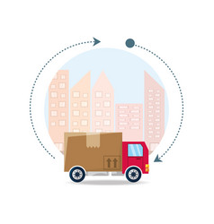 trunk with box package service in the city vector image