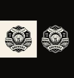Vintage brewing monochrome emblem vector