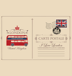 vintage postcard with london double decker vector image