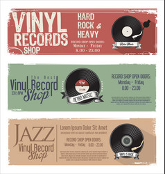 Vinyl record shop retro grunge banner 1 vector