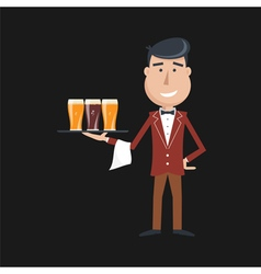 waiter beer vector image