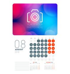 Wall calendar planner template for august 2018 vector