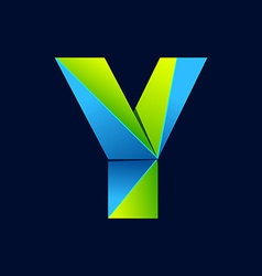 Y letter line colorful logo abstract trendy green vector